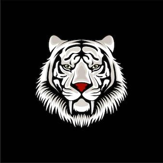 Ilustración de diseño de logotipo de tigre blanco