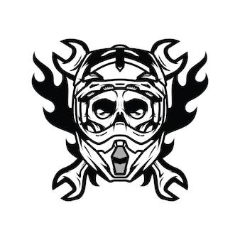 Ilustración de diseño de logotipo de vector de carretera de jinete de fantasma de cráneo