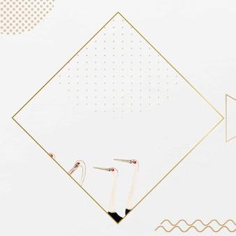 Ilustración de diseño de marco dorado con pájaros