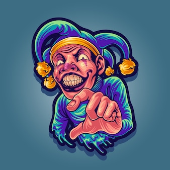 Ilustración de diseño de mascota joker