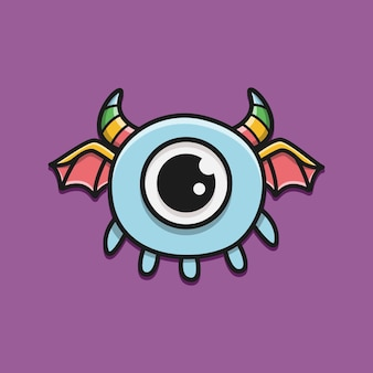 Ilustración de diseño de monstruo de personaje de dibujos animados de doodle kawaii