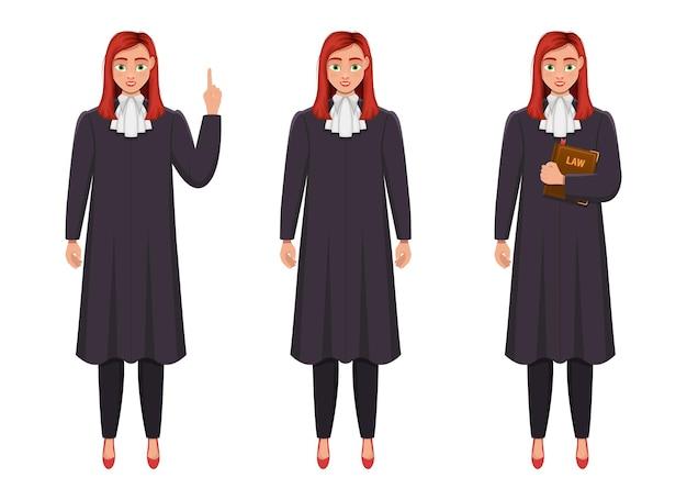 Ilustración de diseño de mujer juez aislada sobre fondo blanco