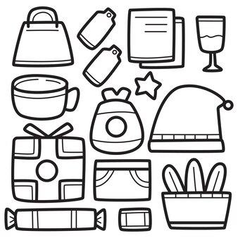 Ilustración de diseño de navidad de dibujos animados doodle