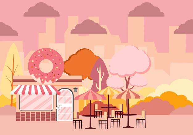 Ilustración de un diseño de paisaje de baja altura de una ciudad afuera con una tienda de donas y un banco de árbol etiqueta con deliciosas donas con glaseado.
