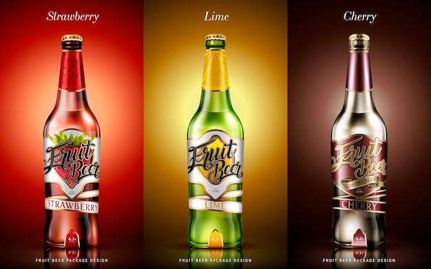 Ilustración de diseño de paquete de cerveza de frutas