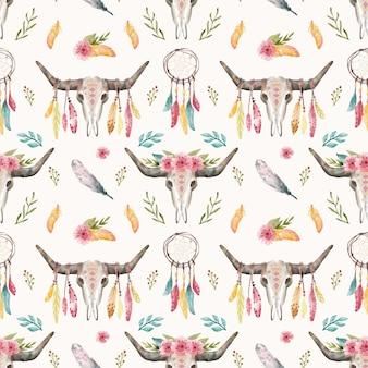 Ilustración de diseño de patrón de acuarela boho