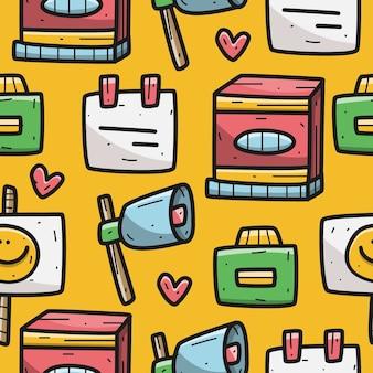 Ilustración de diseño de patrón de dibujos animados kawaii doodle