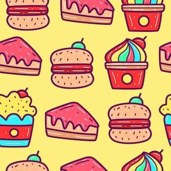 Ilustración de diseño de patrón de doodle de comida de dibujos animados