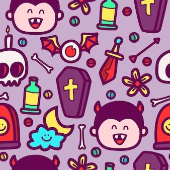 Ilustración de diseño de patrón de doodle de dibujos animados de halloween