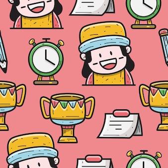 Ilustración de diseño de patrón de doodle de dibujos animados kawaii