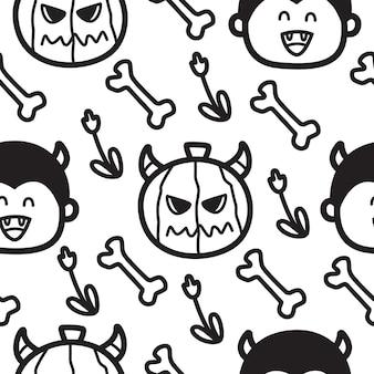 Ilustración de diseño de patrón de kawaii de doodle de dibujos animados de halloween