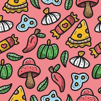 Ilustración de diseño de patrón de pizza de dibujos animados kawaii doodle