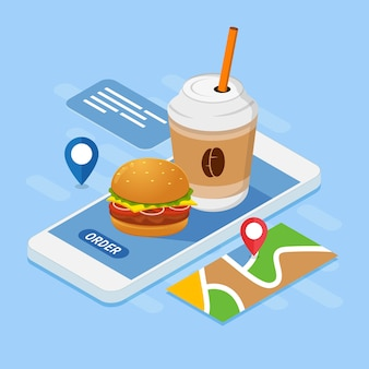 Ilustración de diseño de pedido en línea de comida rápida y bebida