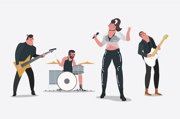 Ilustración del diseño del personaje de dibujos animados. banda profesional
