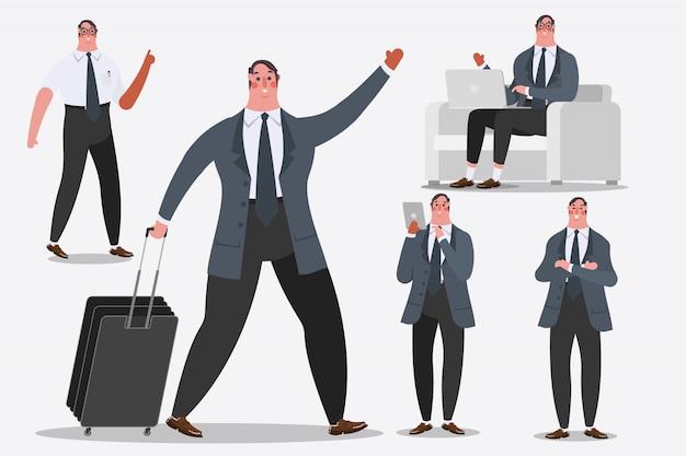 Ilustración del diseño del personaje de dibujos animados. hombre de negocios que muestra el equipaje de la manija, los saludos, y los ordenadores portátiles de la computadora.