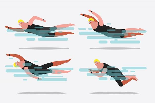 Ilustración del diseño del personaje de dibujos animados. muestre varias posturas de natación.