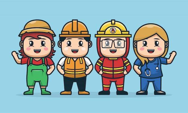 Ilustración del diseño del personaje laboral en grupo