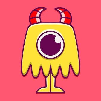 Ilustración de diseño de personaje de monstruo lindo