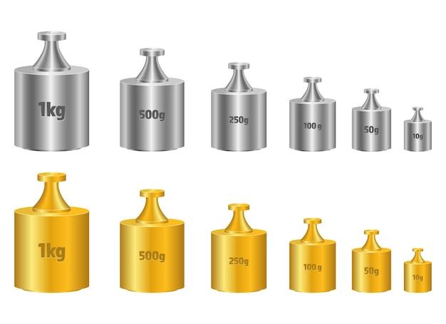 Ilustración de diseño de peso de calibración aislado sobre fondo blanco.