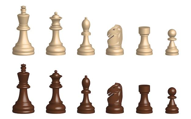 Ilustración de diseño de piezas de juego de ajedrez 3d aislado sobre fondo blanco