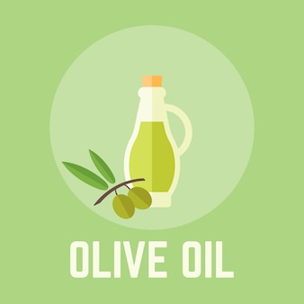 Ilustración de diseño plano de aceite de oliva en botella de vidrio