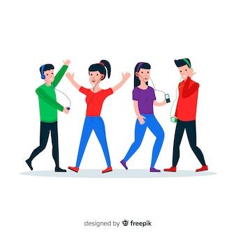 Ilustración de diseño plano de adolescentes escuchando música