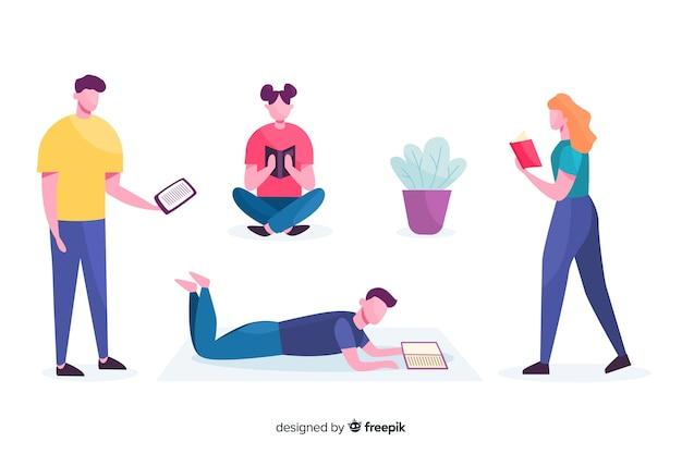Ilustración de diseño plano de adolescentes leyendo