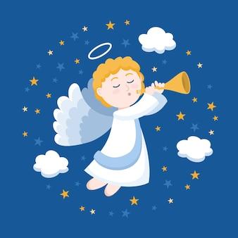 Ilustración de diseño plano ángel de navidad
