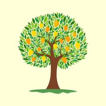 Ilustración de diseño plano de árbol de mango con frutas