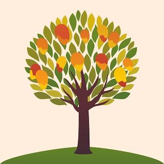 Ilustración de diseño plano árbol de mango con frutas