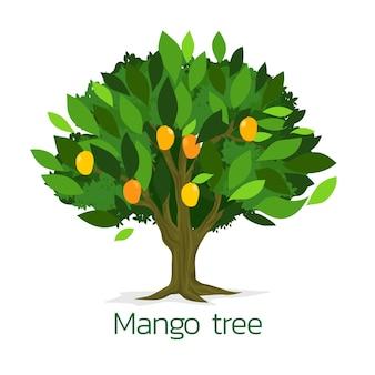 Ilustración de diseño plano de árbol de mango