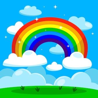 Ilustración de diseño plano del arco iris