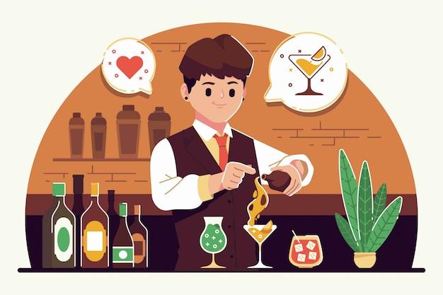 Ilustración de diseño plano de barman