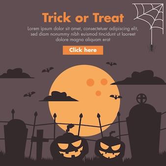 Ilustración de diseño plano calabaza y cementerio de halloween