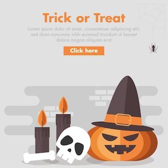 Ilustración de diseño plano calabaza de halloween