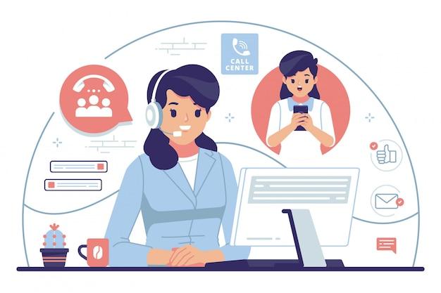 Ilustración de diseño plano de call center