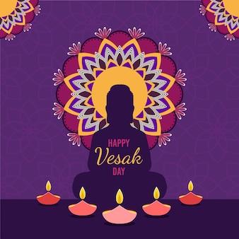 Ilustración de diseño plano para celebrar vesak