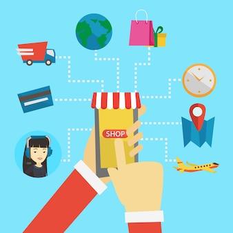 Ilustración de diseño plano de compras en línea.