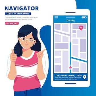 Ilustración de diseño plano de concepto de aplicación de navegación