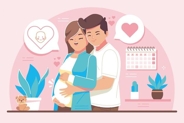 Ilustración de diseño plano de concepto de embarazo
