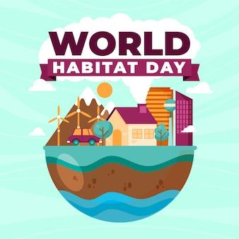 Ilustración de diseño plano del día del hábitat