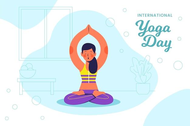 Ilustración del diseño plano del día internacional del yoga