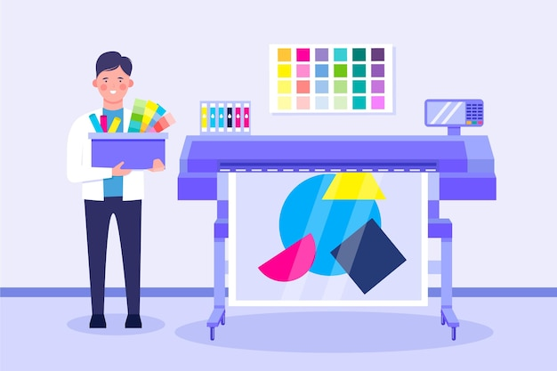 Ilustración de diseño plano de la industria de impresión