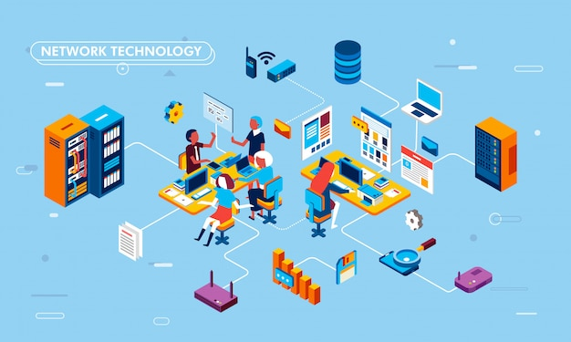 Ilustración de diseño plano isométrico de tecnología de red en procesos de negocio