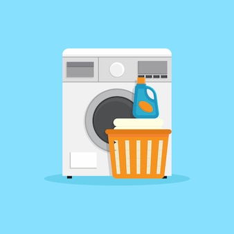 Ilustración de diseño plano de lavadora