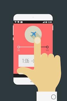 Ilustración de diseño plano con mano sosteniendo dispositivo móvil con aplicación de viaje