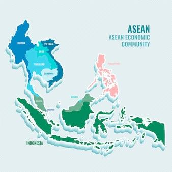 Ilustración de diseño plano mapa de la asean