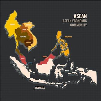 Ilustración de diseño plano de mapa de asean