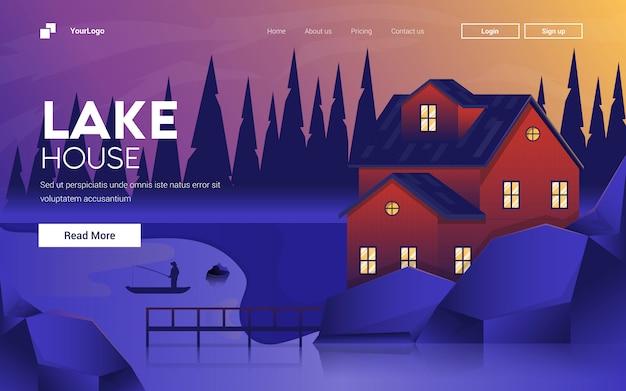 Ilustración de diseño plano moderno de lake house