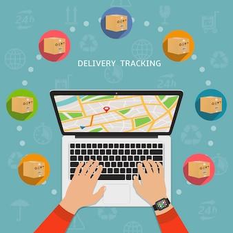 Ilustración de diseño plano de pedido de seguimiento de paquete de envío